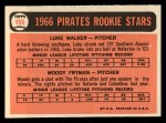 1966 Topps #498   -  Woody Fryman / Luke Walker Pirates Rookies Back Thumbnail