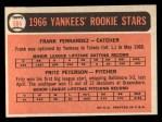 1966 Topps #584   -  Fritz Peterson / Frank Fernandez Yankees Rookies Back Thumbnail
