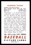 1951 Bowman REPRINT #222  Thurman Tucker  Back Thumbnail