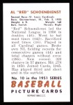 1951 Bowman REPRINT #10  Red Schoendienst  Back Thumbnail