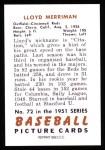 1951 Bowman REPRINT #72  Lloyd Merriman  Back Thumbnail