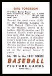 1951 Bowman REPRINT #99  Earl Torgeson  Back Thumbnail