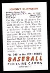 1951 Bowman Reprints #248  Johnny Klippstein  Back Thumbnail