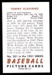 1951 Bowman REPRINT #301  Tommy Glaviano  Back Thumbnail