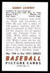 1951 Bowman REPRINT #194  Peanuts Lowrey  Back Thumbnail