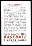 1951 Bowman REPRINT #287  Jim Blackburn  Back Thumbnail