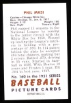 1951 Bowman REPRINT #160  Phil Masi  Back Thumbnail