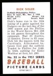 1951 Bowman REPRINT #52  Dick Sisler  Back Thumbnail
