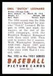 1951 Bowman REPRINT #102  Dutch Leonard  Back Thumbnail