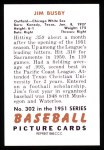 1951 Bowman REPRINT #302  Jim Busby  Back Thumbnail