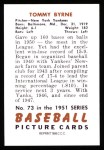 1951 Bowman REPRINT #73  Tommy Byrne  Back Thumbnail