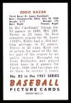 1951 Bowman REPRINT #85  Eddie Kazak  Back Thumbnail