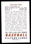 1951 Bowman REPRINT #232  Nellie Fox  Back Thumbnail