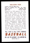 1951 Bowman REPRINT #232  Nellie Fox  Back Thumbnail