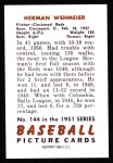 1951 Bowman REPRINT #144  Herm Wehmeier  Back Thumbnail