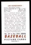 1951 Bowman REPRINT #27  Jim Konstanty  Back Thumbnail