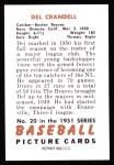 1951 Bowman REPRINT #20  Del Crandall  Back Thumbnail