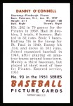 1951 Bowman REPRINT #93  Danny O'Connell  Back Thumbnail