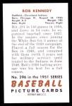 1951 Bowman REPRINT #296  Bob Kennedy  Back Thumbnail