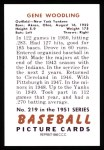 1951 Bowman REPRINT #219  Gene Woodling  Back Thumbnail