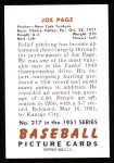 1951 Bowman REPRINT #217  Joe Page  Back Thumbnail