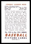 1951 Bowman REPRINT #223  Johnny Vander Meer  Back Thumbnail