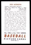 1951 Bowman REPRINT #298  Joe Astroth  Back Thumbnail