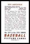 1951 Bowman REPRINT #277  Roy Hartsfield  Back Thumbnail