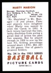 1951 Bowman REPRINT #34  Marty Marion  Back Thumbnail