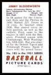 1951 Bowman REPRINT #185  Jimmy Bloodworth  Back Thumbnail
