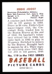 1951 Bowman REPRINT #119  Eddie Joost  Back Thumbnail