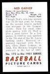 1951 Bowman REPRINT #172  Ned Garver,  Back Thumbnail