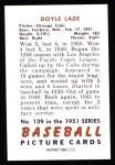 1951 Bowman REPRINT #139  Doyle Lade  Back Thumbnail