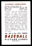1951 Bowman REPRINT #60  Chico Carrasquel  Back Thumbnail