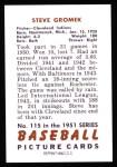 1951 Bowman REPRINT #115  Steve Gromek  Back Thumbnail