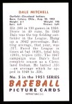 1951 Bowman Reprints #5  Dale Mitchell  Back Thumbnail