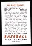 1951 Bowman REPRINT #147  Ken Heintzelman  Back Thumbnail