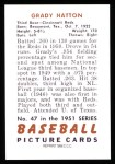 1951 Bowman REPRINT #47  Grady Hatton  Back Thumbnail