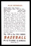 1951 Bowman REPRINT #109  Allie Reynolds  Back Thumbnail