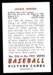 1951 Bowman REPRINT #254  Jackie Jensen  Back Thumbnail