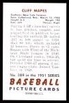 1951 Bowman REPRINT #289  Cliff Mapes  Back Thumbnail