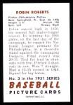 1951 Bowman REPRINT #3  Robin Roberts  Back Thumbnail