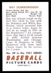 1951 Bowman REPRINT #39  Ray Scarborough  Back Thumbnail
