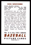 1951 Bowman REPRINT #6  Don Newcombe  Back Thumbnail