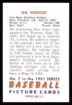 1951 Bowman REPRINT #7  Gil Hodges  Back Thumbnail