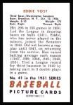 1951 Bowman REPRINT #41  Eddie Yost  Back Thumbnail