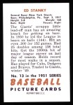 1951 Bowman Reprints #13  Eddie Stanky  Back Thumbnail