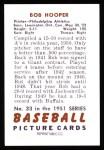 1951 Bowman REPRINT #33  Bob Hooper  Back Thumbnail