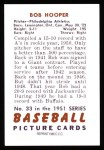 1951 Bowman REPRINT #33  Bob Hooper  Back Thumbnail