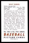 1951 Bowman REPRINT #283  Walt Dubiel  Back Thumbnail